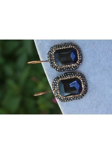 Stoneage Kristal Taşlı El Yapımı Kadın Küpe Mavi